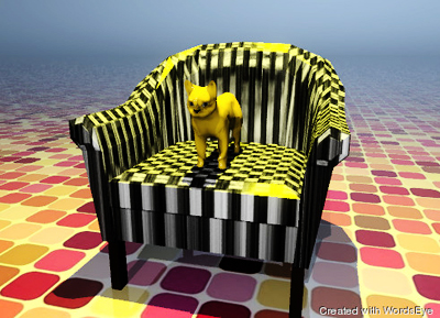 Illustration of an orange cat sitting on a white chair. The ground looks like bricks, but is shiny. A yellow illumination source colors the cat and tops of the chair.