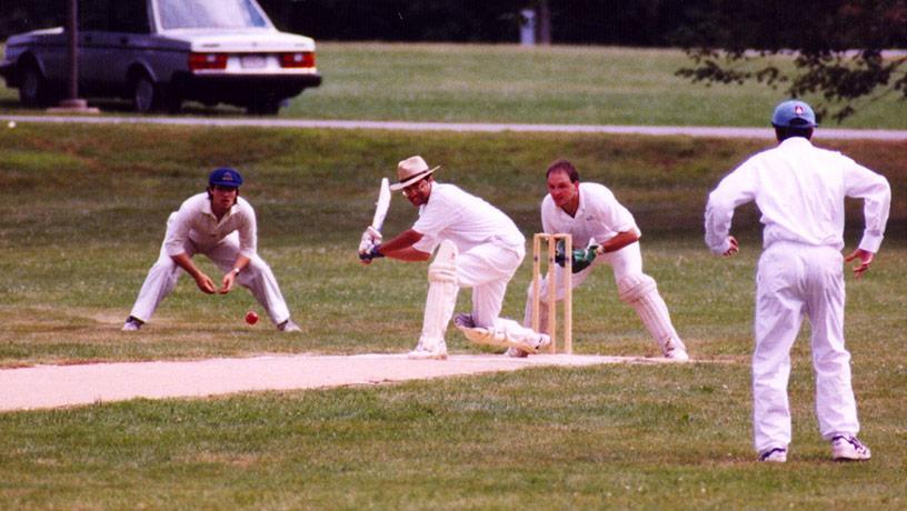 Vishal Misra playing cricket